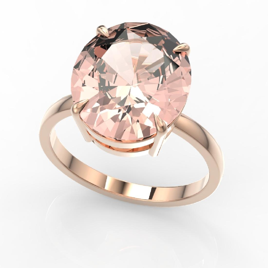 9 CTW Morganite Designer Solitaire Engagement Ring 14K - 2