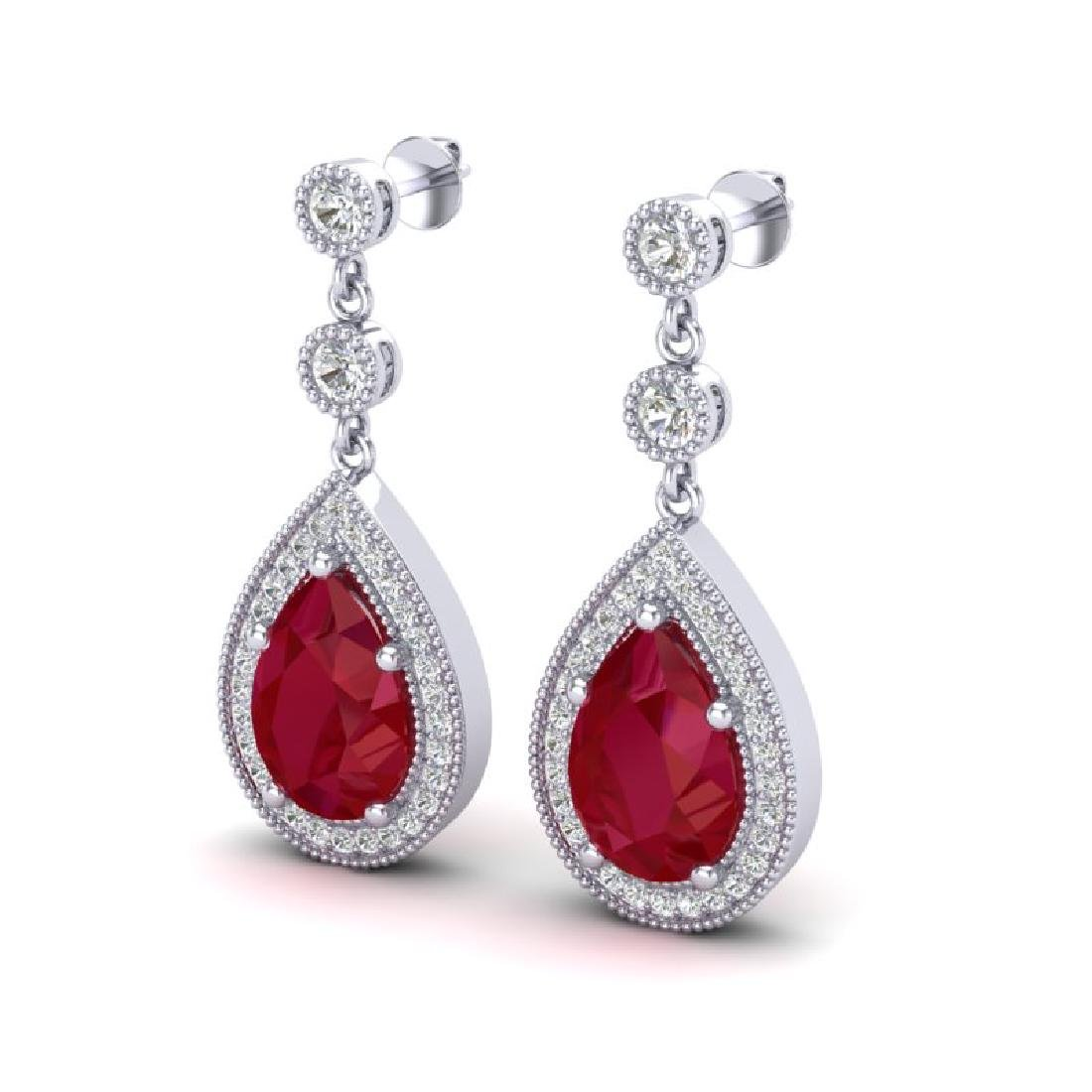 6 CTW Ruby & Micro Pave VS/SI Diamond Earrings Designer