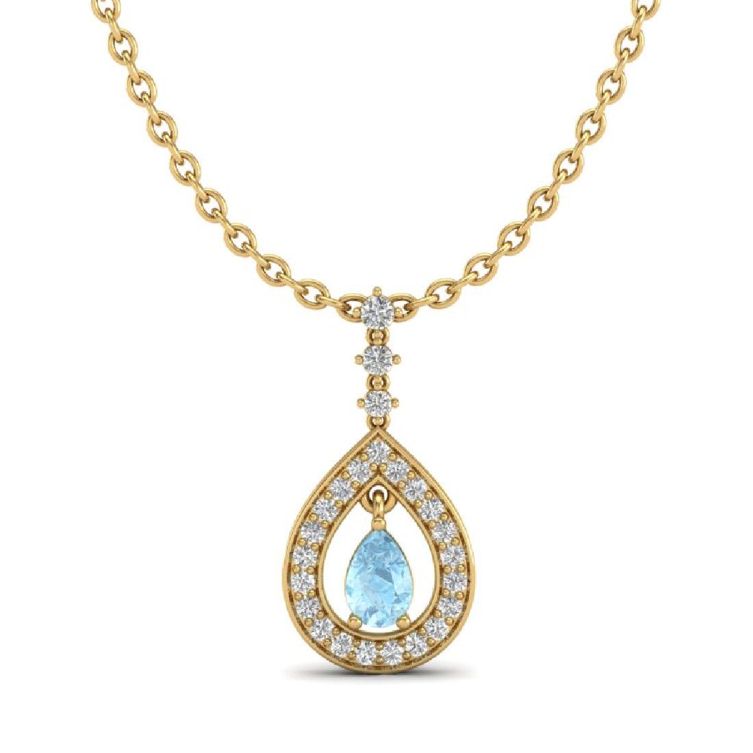 1.15 CTW Aquamarine & Micro Pave VS/SI Diamond Necklace - 2