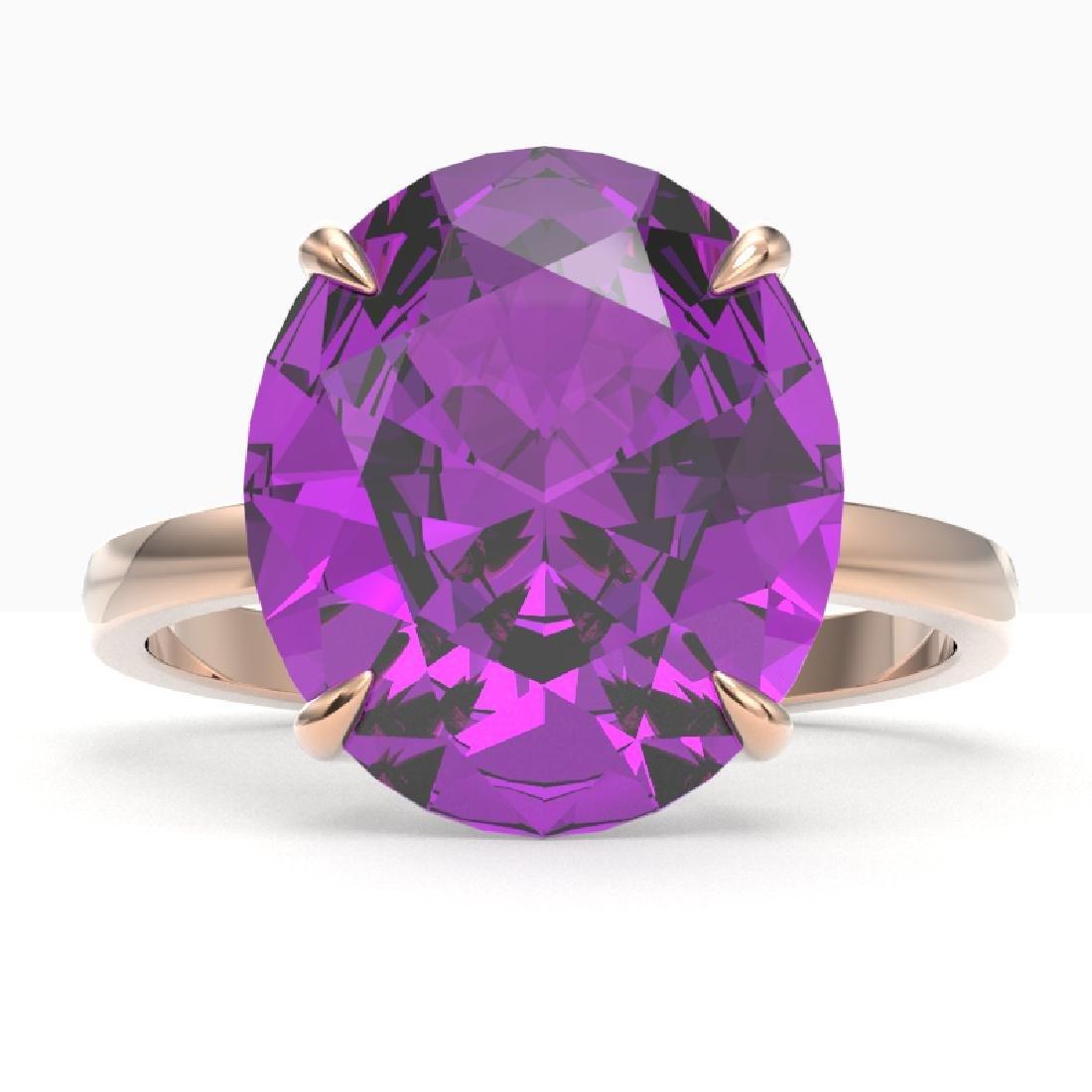 9 CTW Amethyst Designer Solitaire Engagement Ring 14K