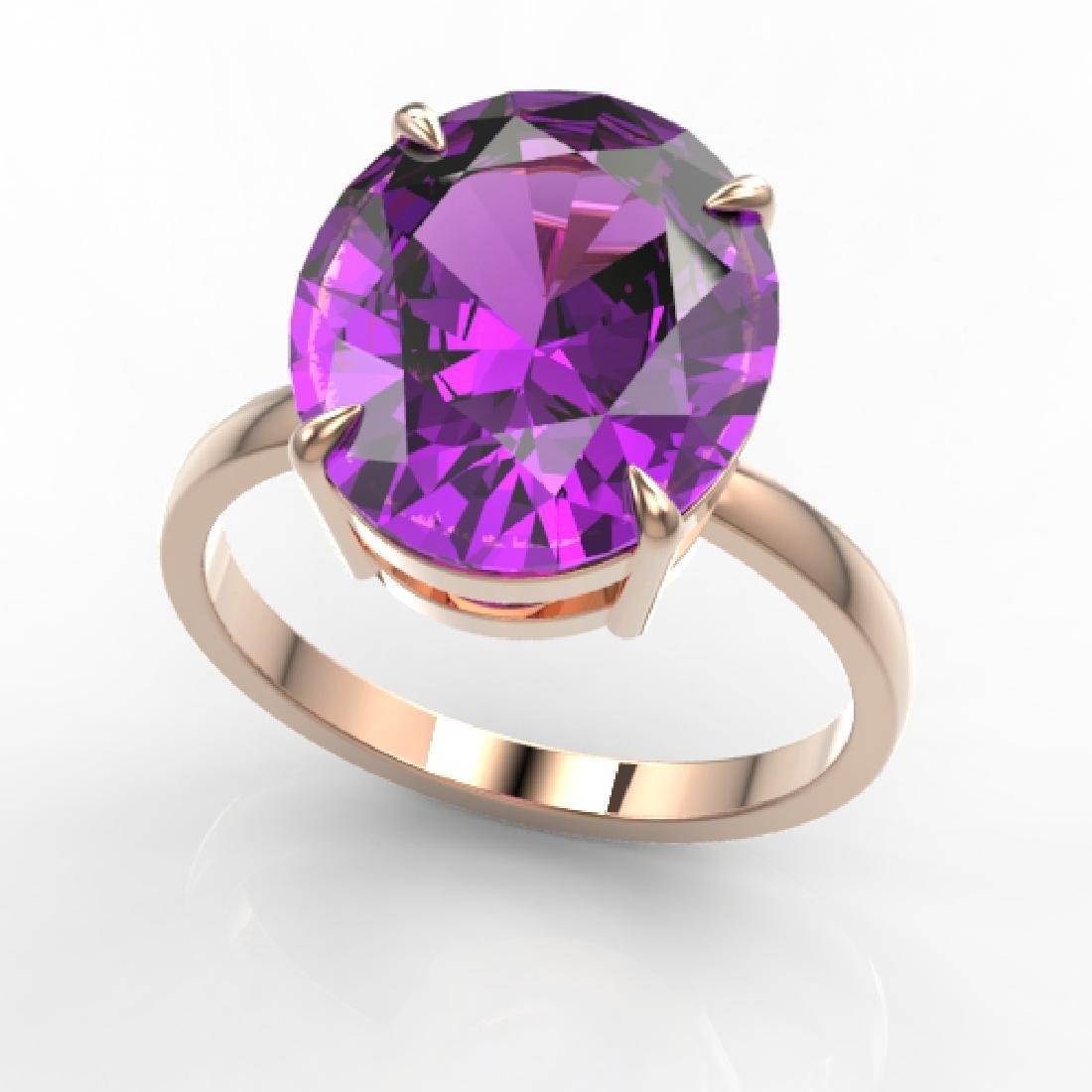9 CTW Amethyst Designer Solitaire Engagement Ring 14K - 2
