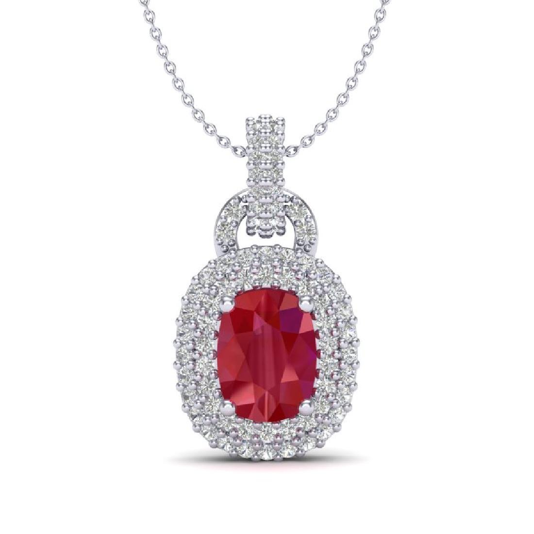 2.50 CTW Ruby And Micro Pave VS/SI Diamond Necklace