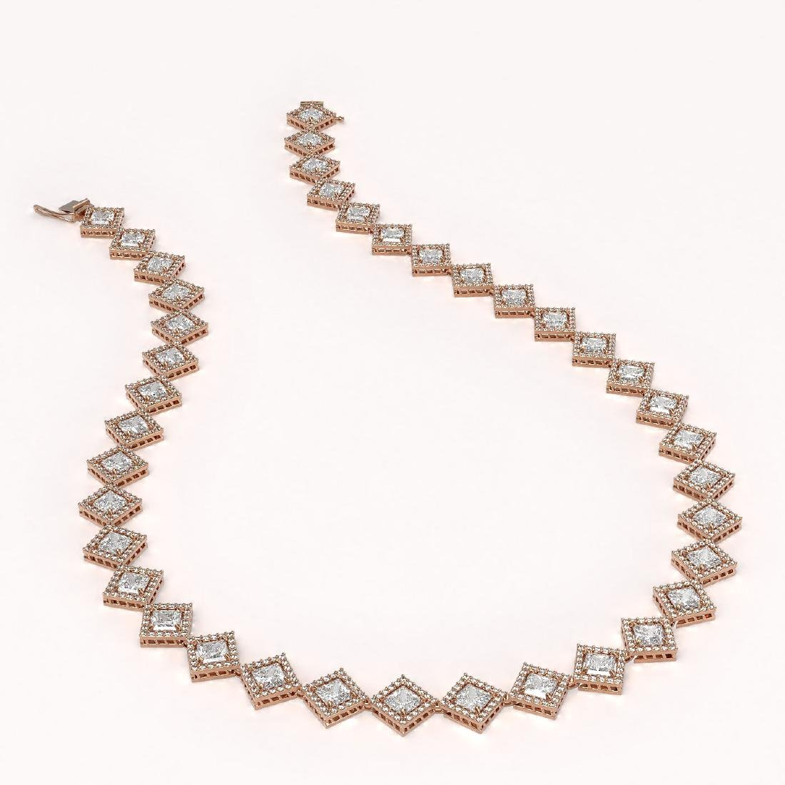 26.88 CTW Princess Cut Diamond Designer Necklace 18K - 2