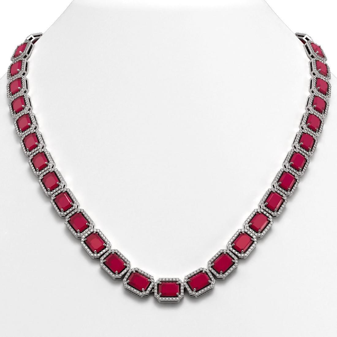 58.59 CTW Ruby & Diamond Halo Necklace 10K White Gold