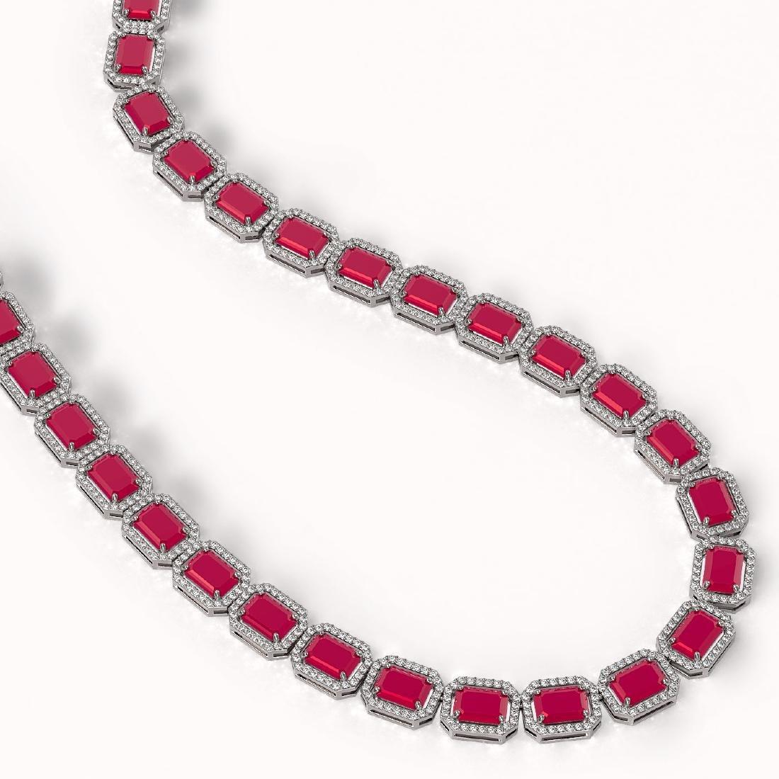 58.59 CTW Ruby & Diamond Halo Necklace 10K White Gold - 2