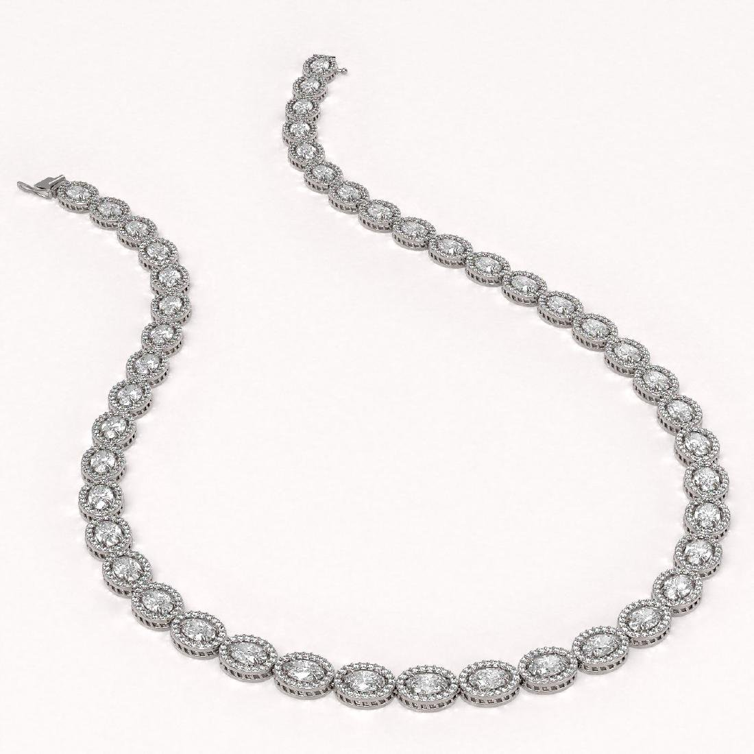 30.41 CTW Oval Diamond Designer Necklace 18K White Gold - 2