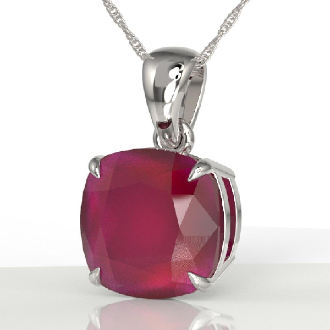 6 Cushion Cut Ruby Solitaire necklace 18K White Gold