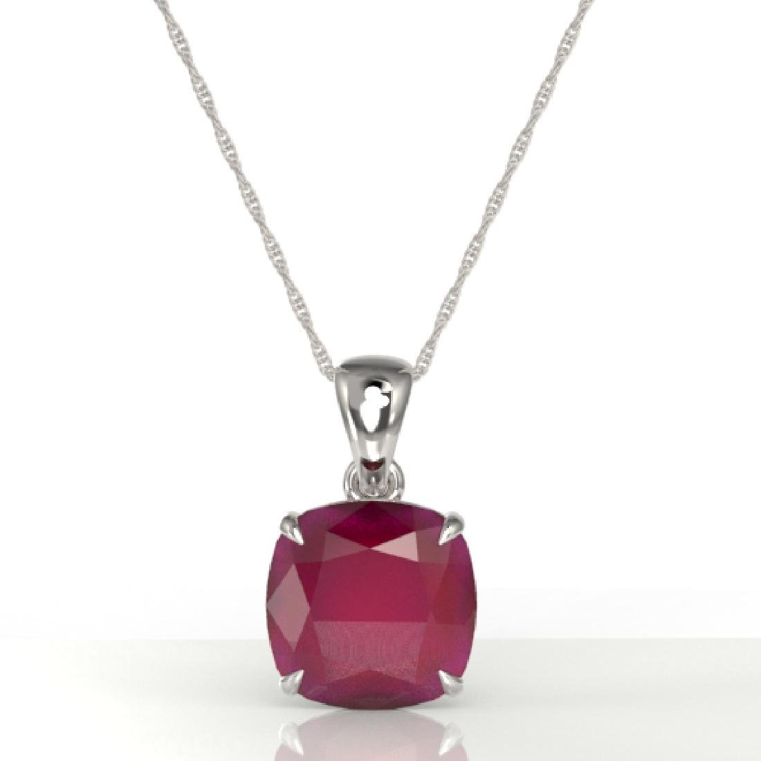6 Cushion Cut Ruby Solitaire necklace 18K White Gold - 2