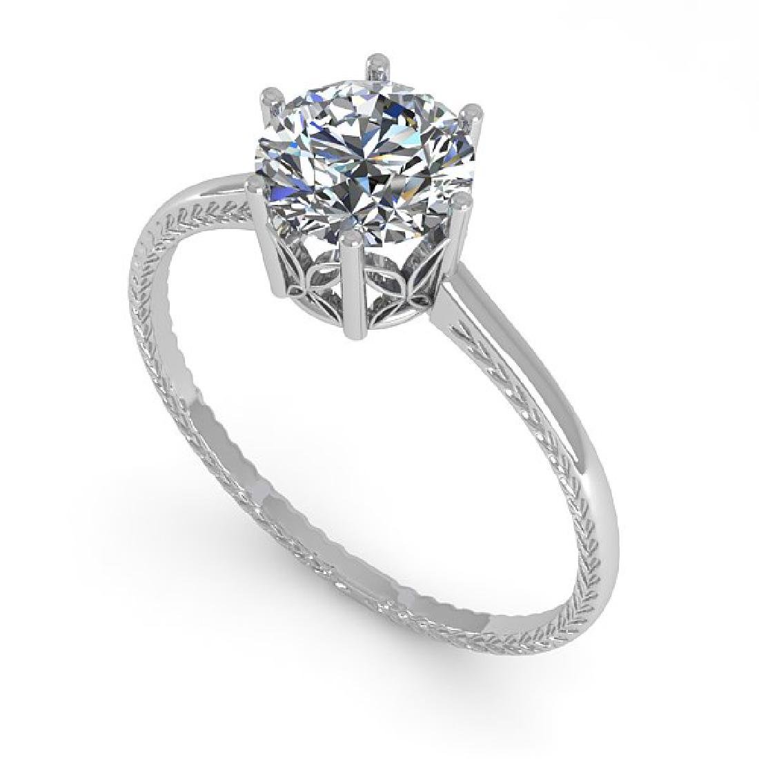 1.0 CTW VS/SI Diamond Art Deco Ring 14K White Gold - 2