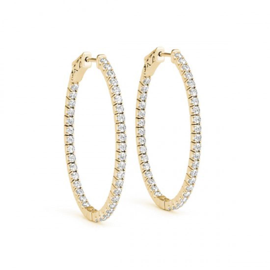 1 CTW Diamond VS/SI Certified 22 Mm Hoop Earrings 14K - 2