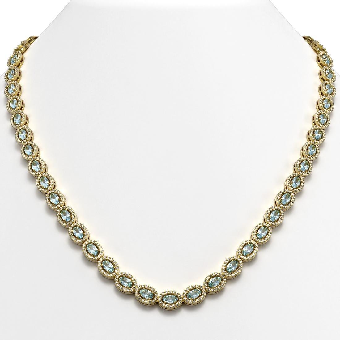20.71 CTW Aquamarine & Diamond Halo Necklace 10K Yellow