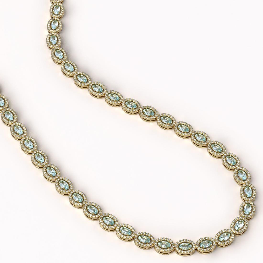 20.71 CTW Aquamarine & Diamond Halo Necklace 10K Yellow - 2