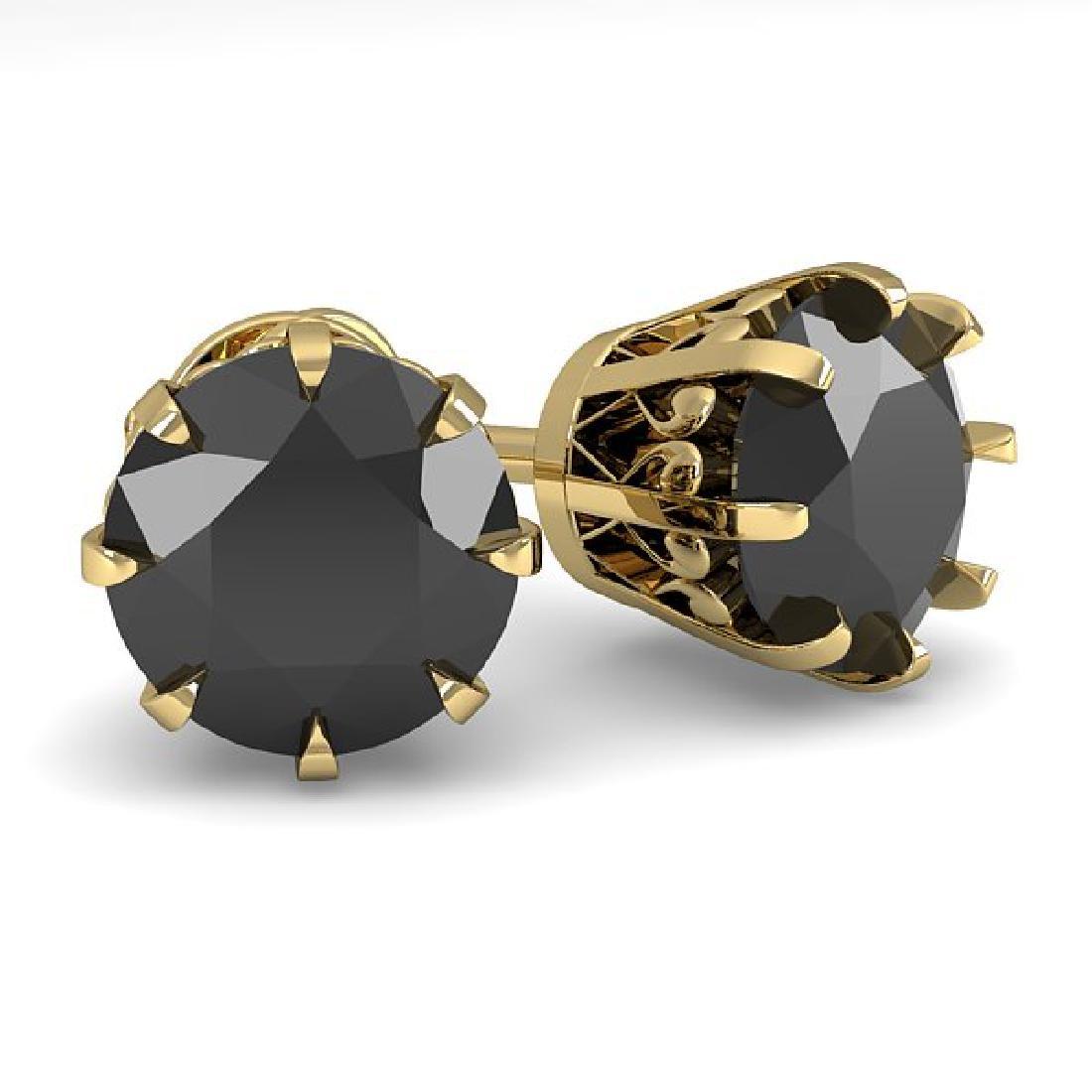 3.0 CTW Black Diamond Stud Solitaire Earrings 14K