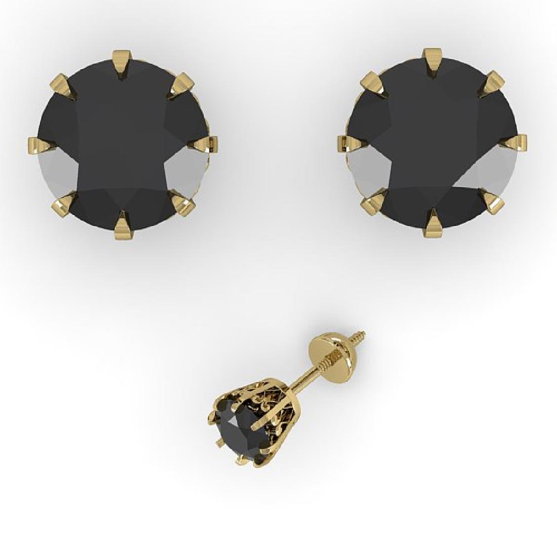 3.0 CTW Black Diamond Stud Solitaire Earrings 14K - 2