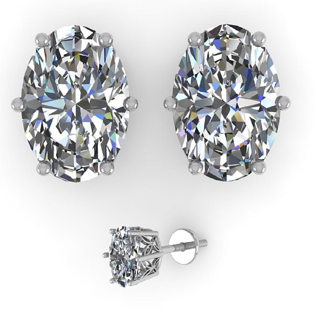 1.0 CTW Certified VS/SI Oval Diamond Stud Art Deco - 2