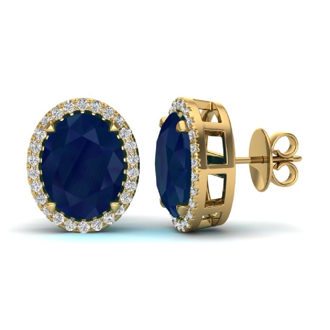 5.50 CTW Sapphire & Micro VS/SI Diamond Halo Earrings - 2