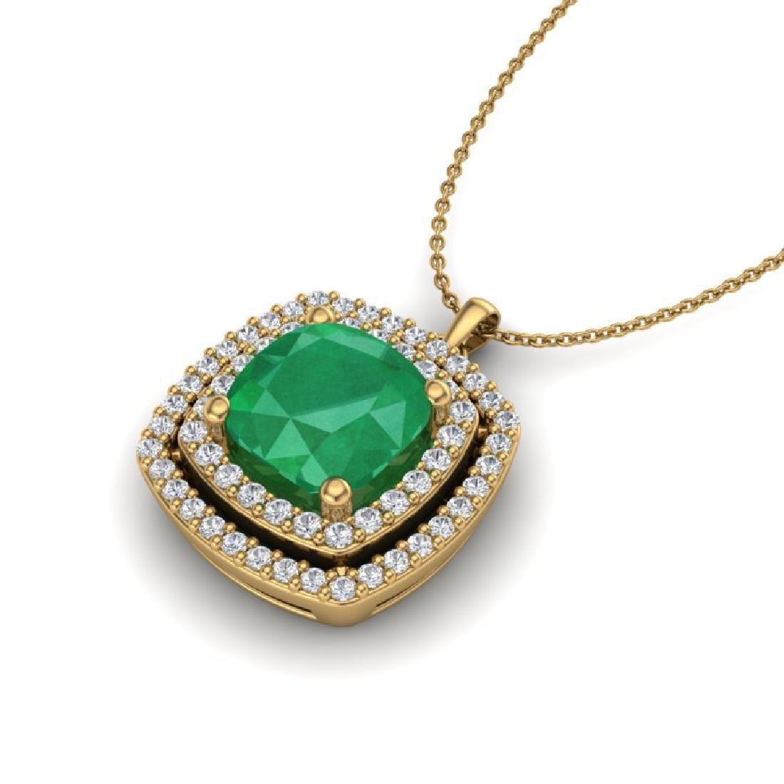 2.52 CTW Emerald & Micro Pave VS/SI Diamond Halo - 2