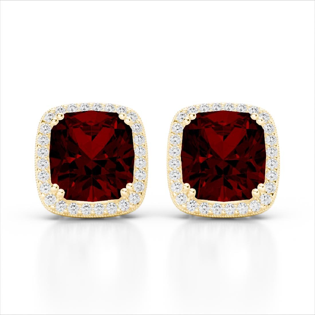 6 CTW Garnet & Micro Pave VS/SI Diamond Halo Solitaire