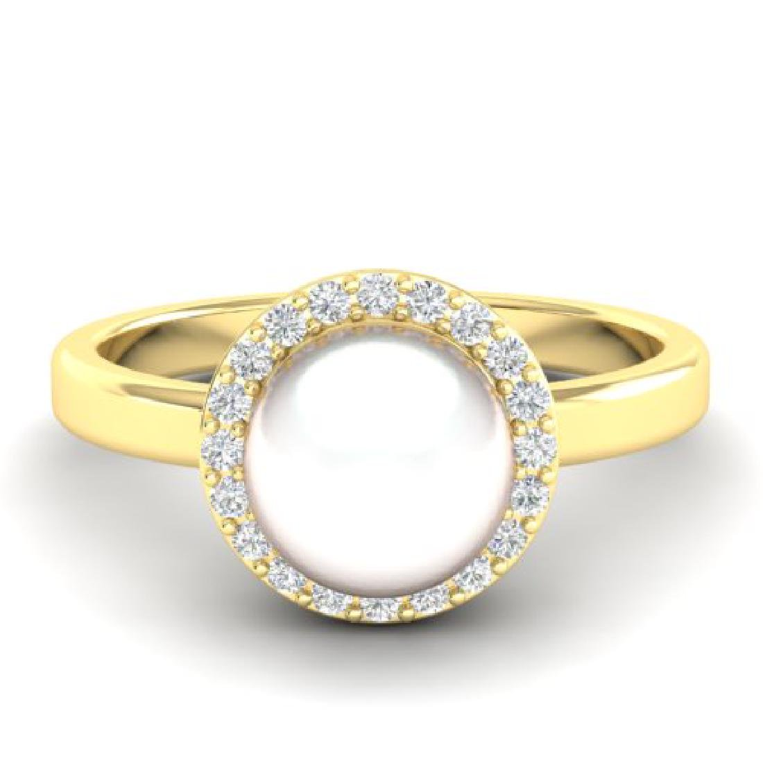 0.25 CTW Micro Pave Halo VS/SI Diamond & Pearl Ring 18K