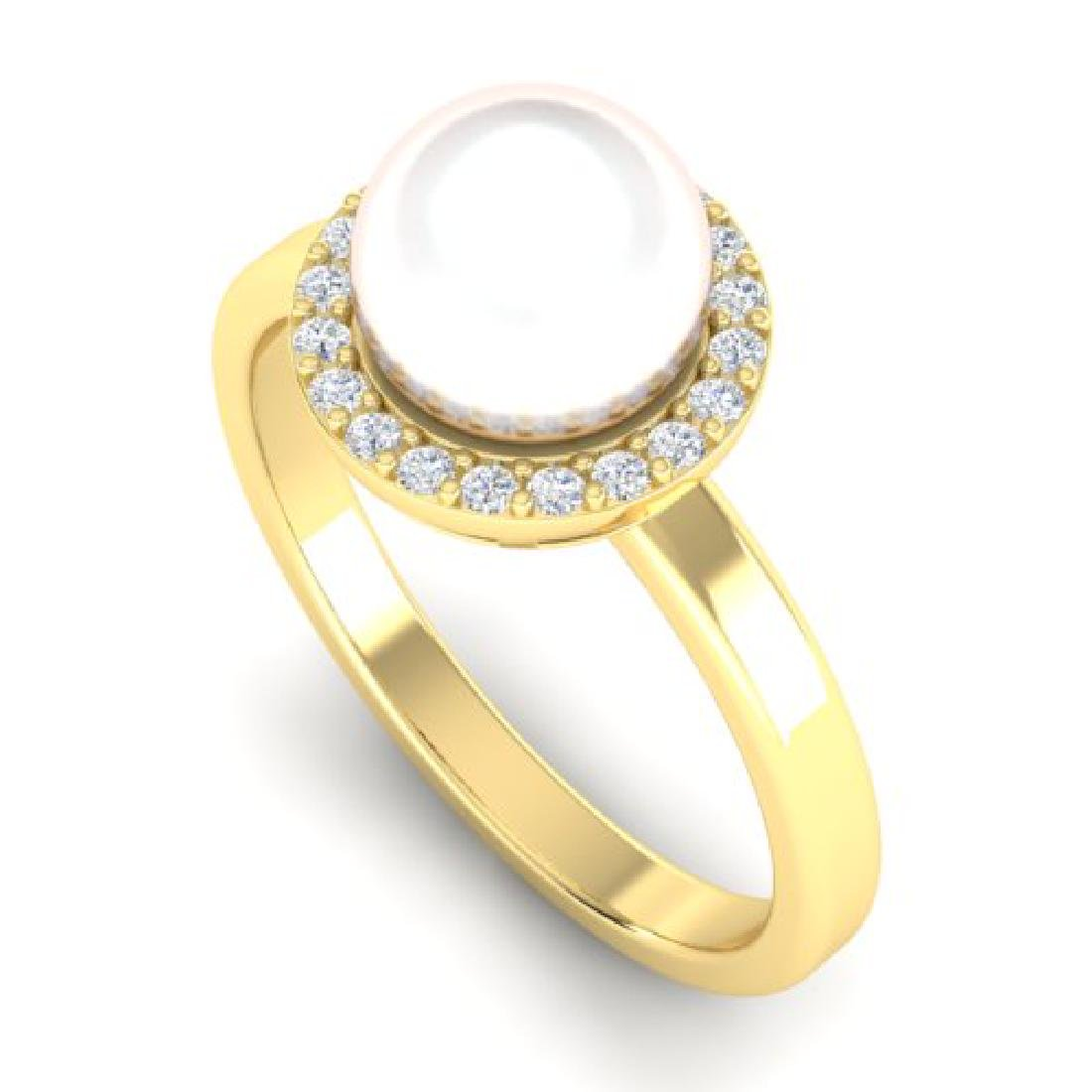 0.25 CTW Micro Pave Halo VS/SI Diamond & Pearl Ring 18K - 2