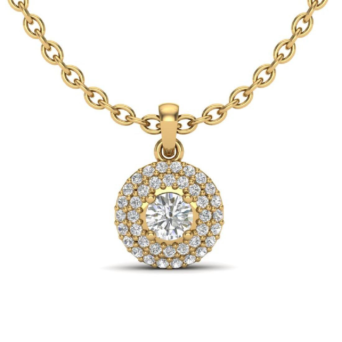 0.60 CTW Micro Pave VS/SI Diamond Designer Necklace 18K