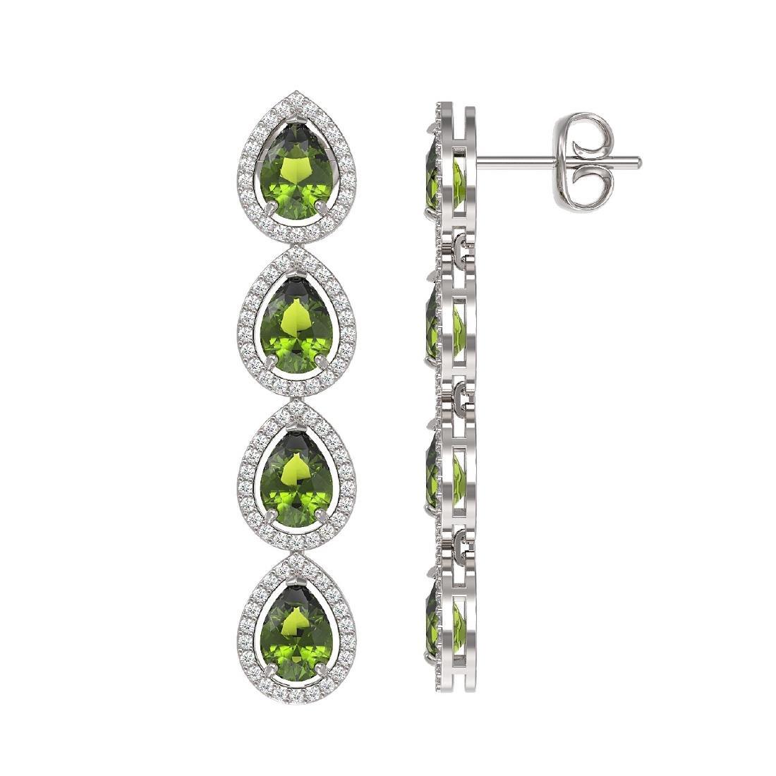 7.88 CTW Tourmaline & Diamond Halo Earrings 10K White - 2
