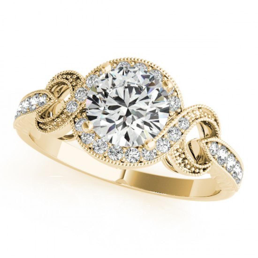 0.8 CTW Certified VS/SI Diamond Solitaire Halo Ring 14K - 2