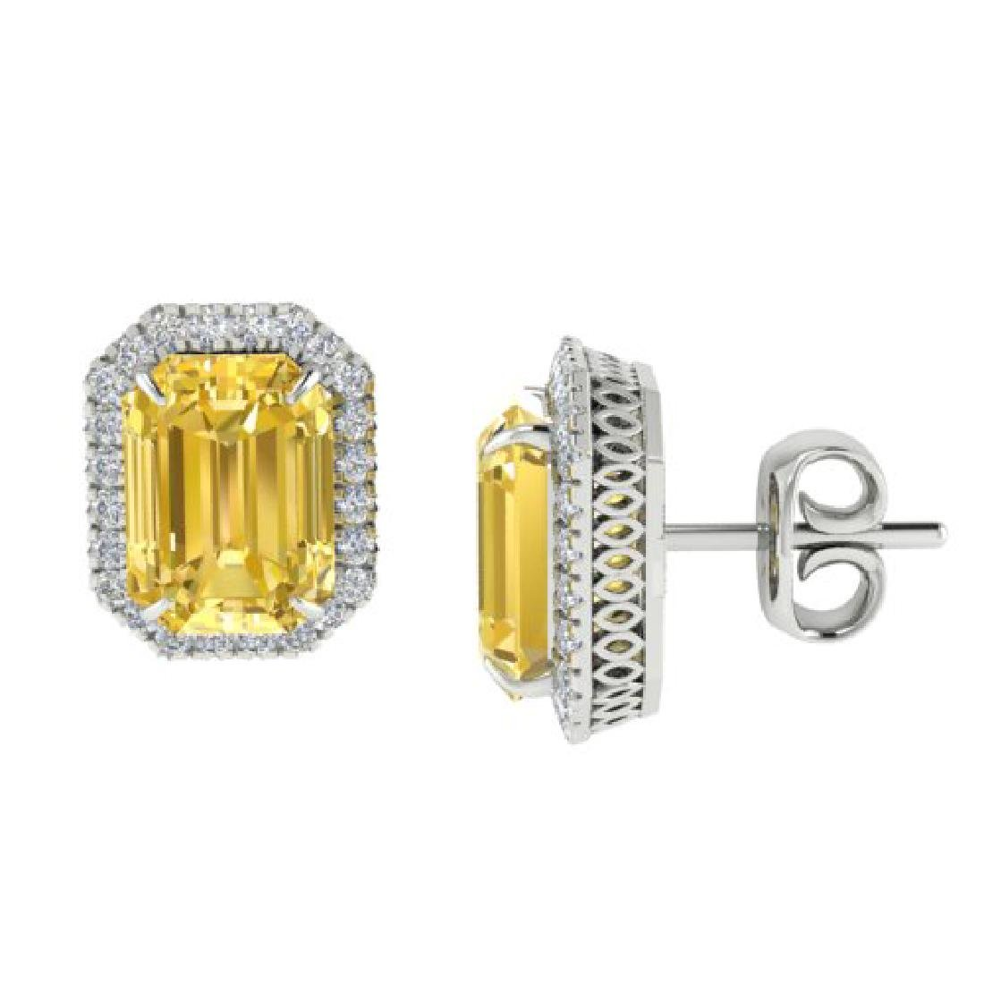 8.40 CTW Citrine & Micro Pave VS/SI Diamond Halo - 2