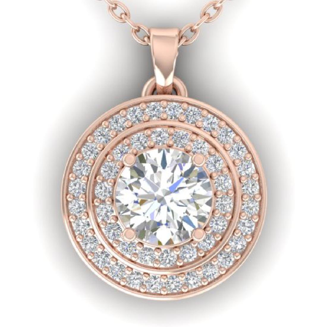 0.9 CTW Certified VS/SI Diamond Art Deco Halo Necklace