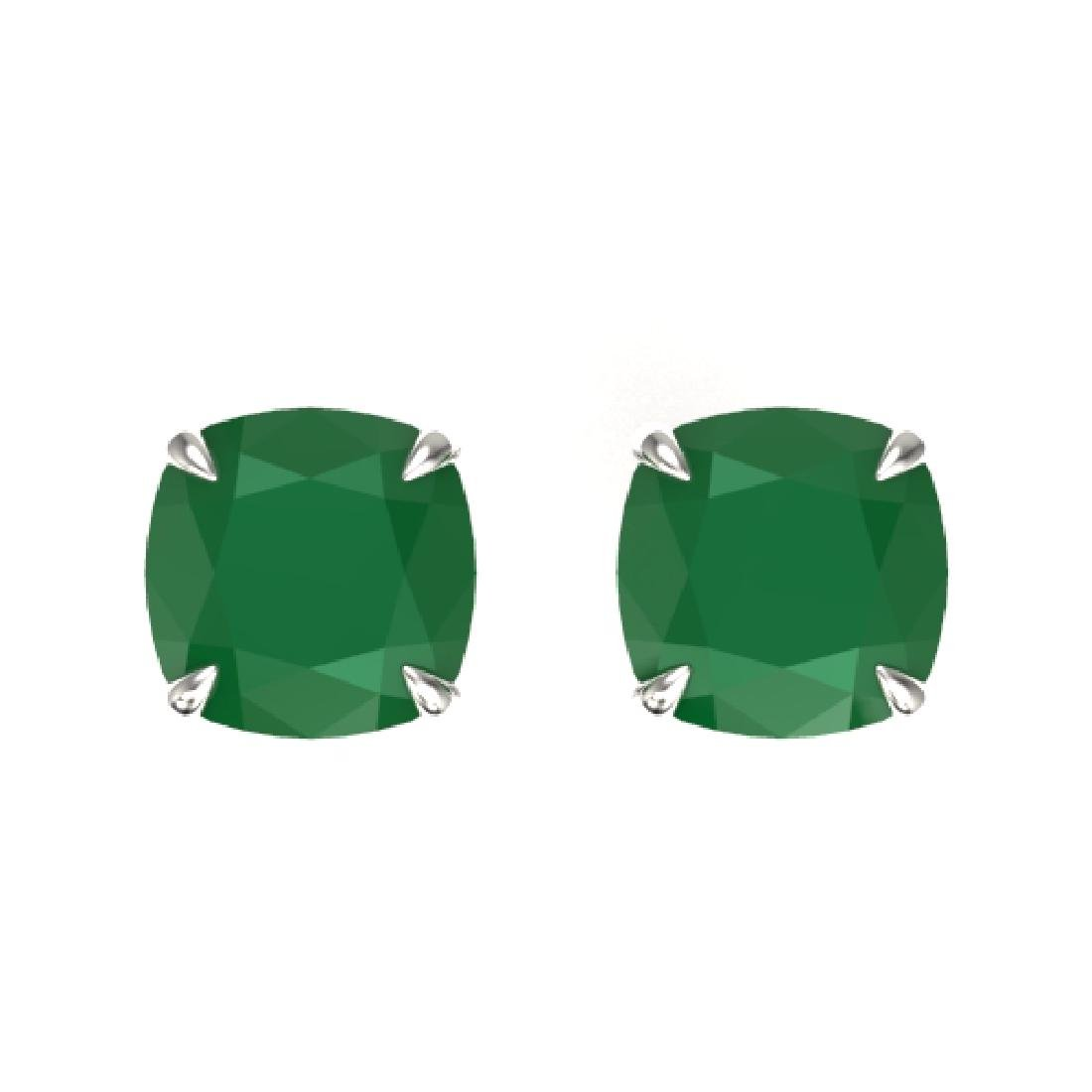 4 CTW Cushion Cut Emerald Designer Solitaire Stud