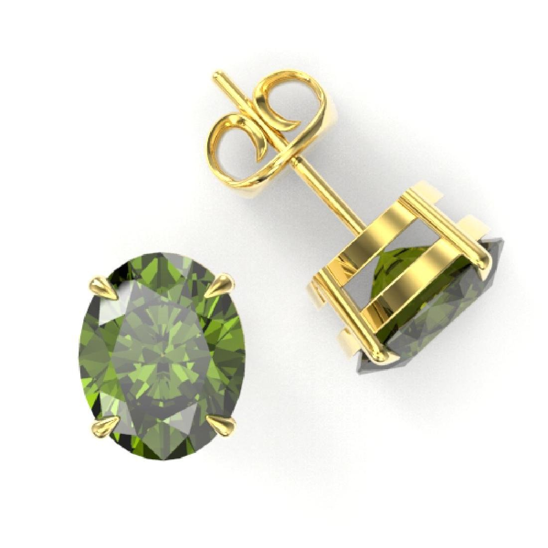 6 CTW Green Tourmaline Designer Solitaire Stud Earrings - 2