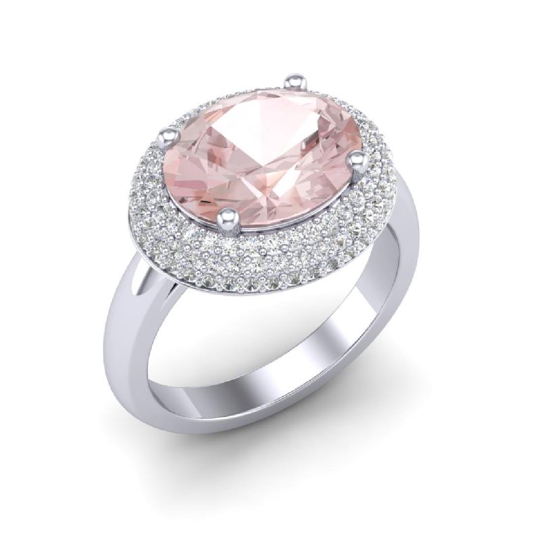 4.50 CTW Morganite & Micro Pave VS/SI Diamond Ring 18K