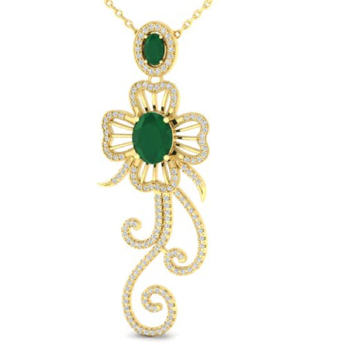 5.85 CTW Emerald & Micro Designer VS/SI Diamond