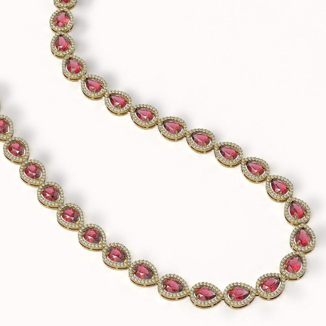 35.13 CTW Tourmaline & Diamond Halo Necklace 10K Yellow - 2