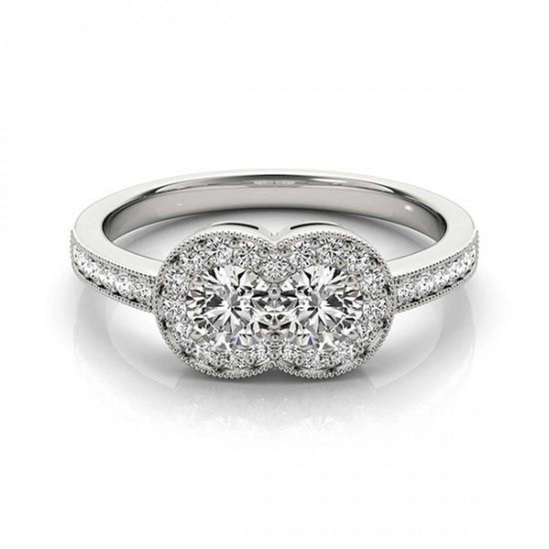1 CTW Certified VS/SI Diamond 2 Stone Solitaire Ring