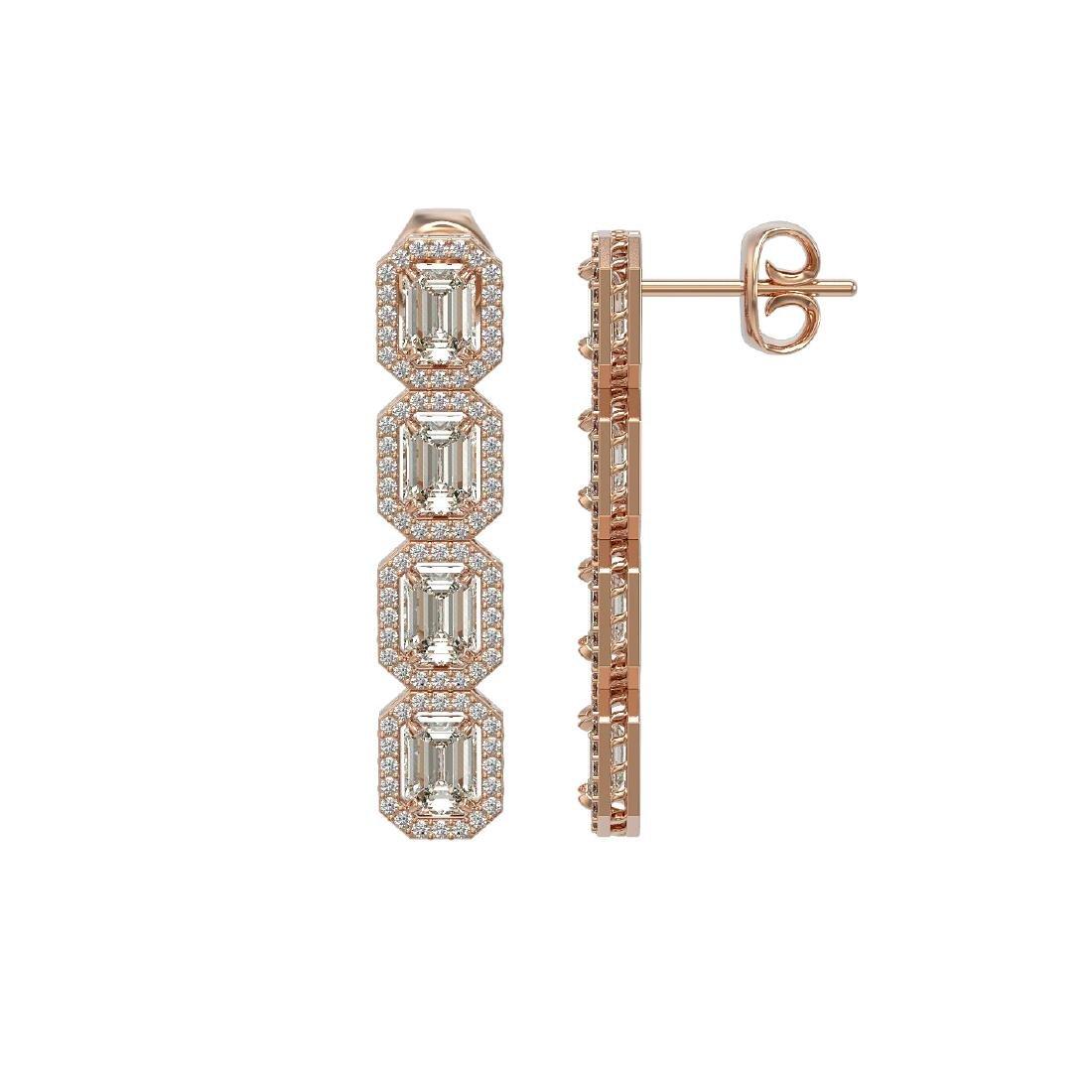5.33 CTW Emerald Cut Diamond Designer Earrings 18K Rose - 2