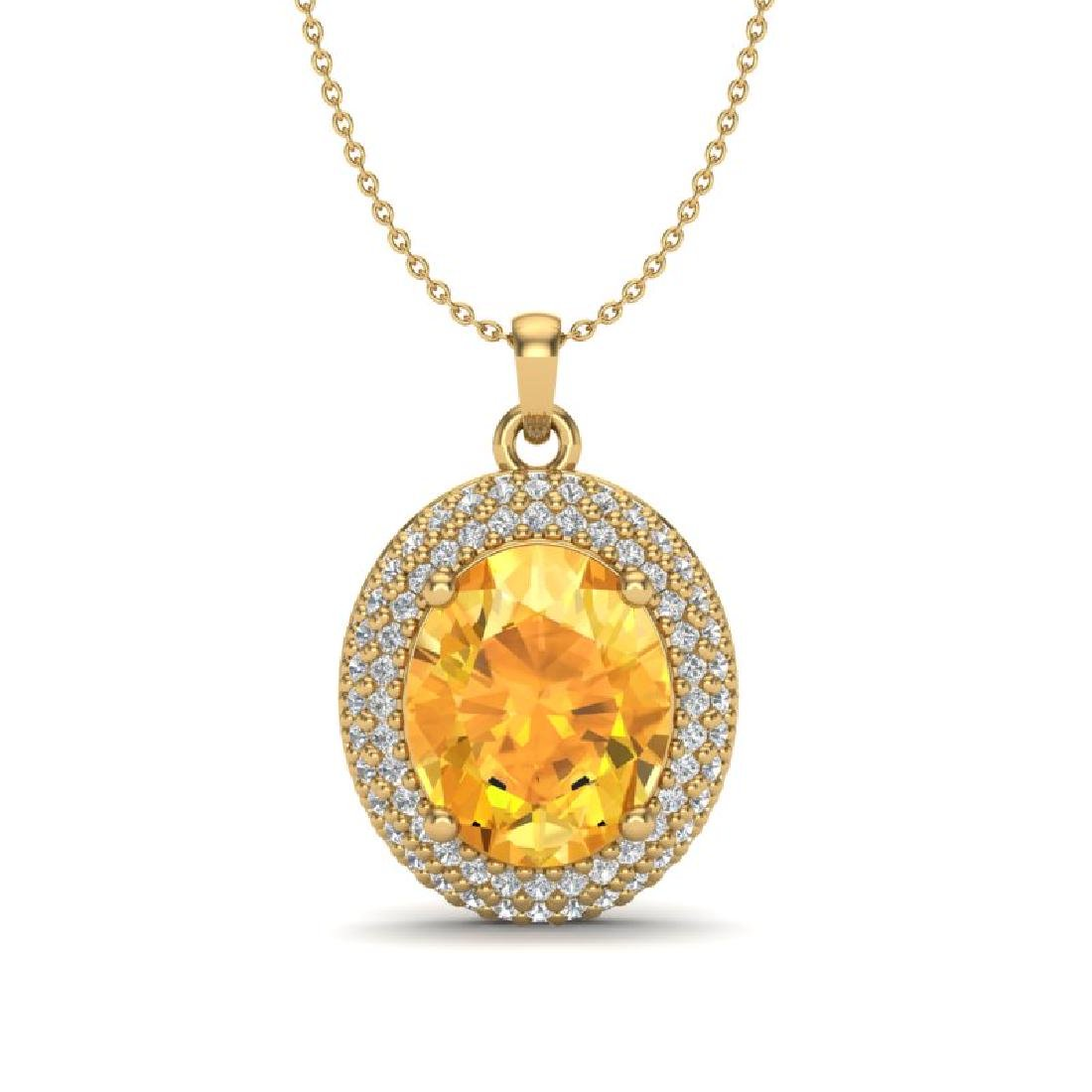 4 CTW Citrine & Micro Pave VS/SI Diamond Necklace 18K