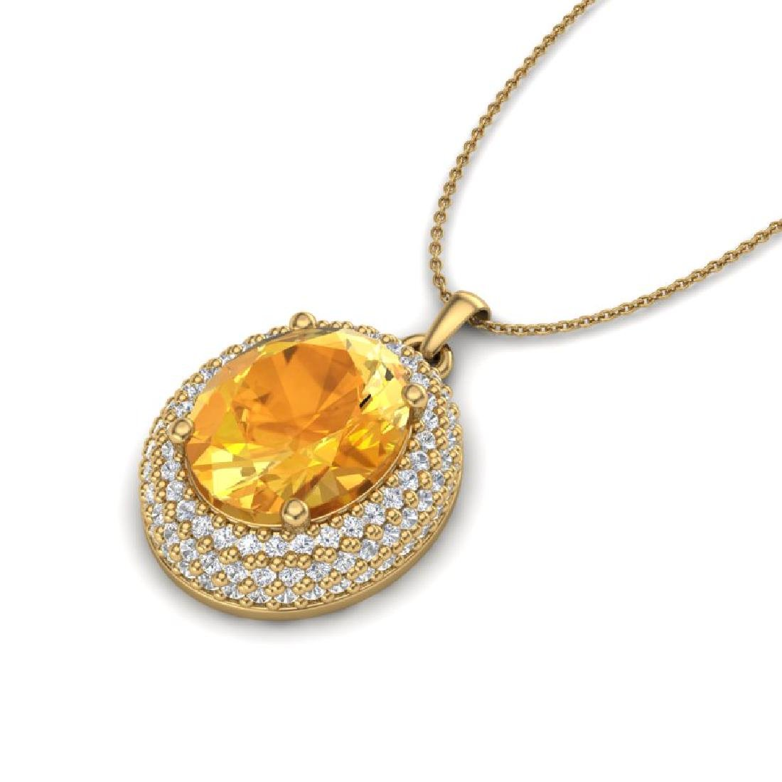 4 CTW Citrine & Micro Pave VS/SI Diamond Necklace 18K - 2