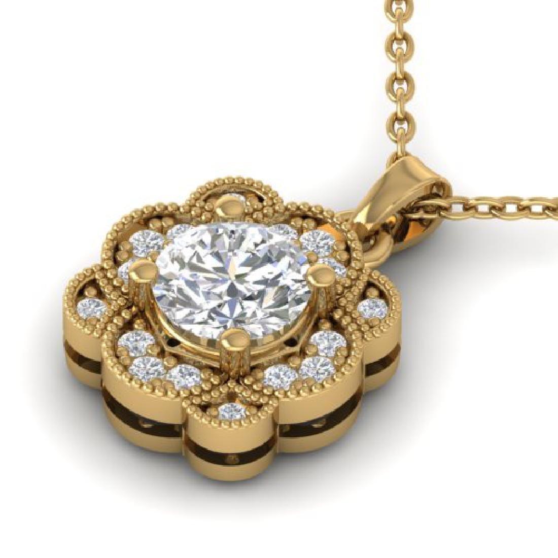 0.75 CTW I-SI Diamond Solitaire Art Deco Necklace 18K - 2