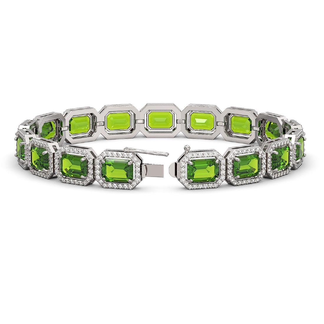 25.41 CTW Peridot & Diamond Halo Bracelet 10K White - 2
