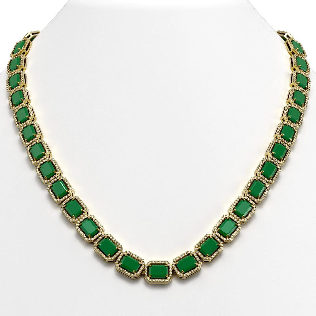 58.59 CTW Emerald & Diamond Halo Necklace 10K Yellow