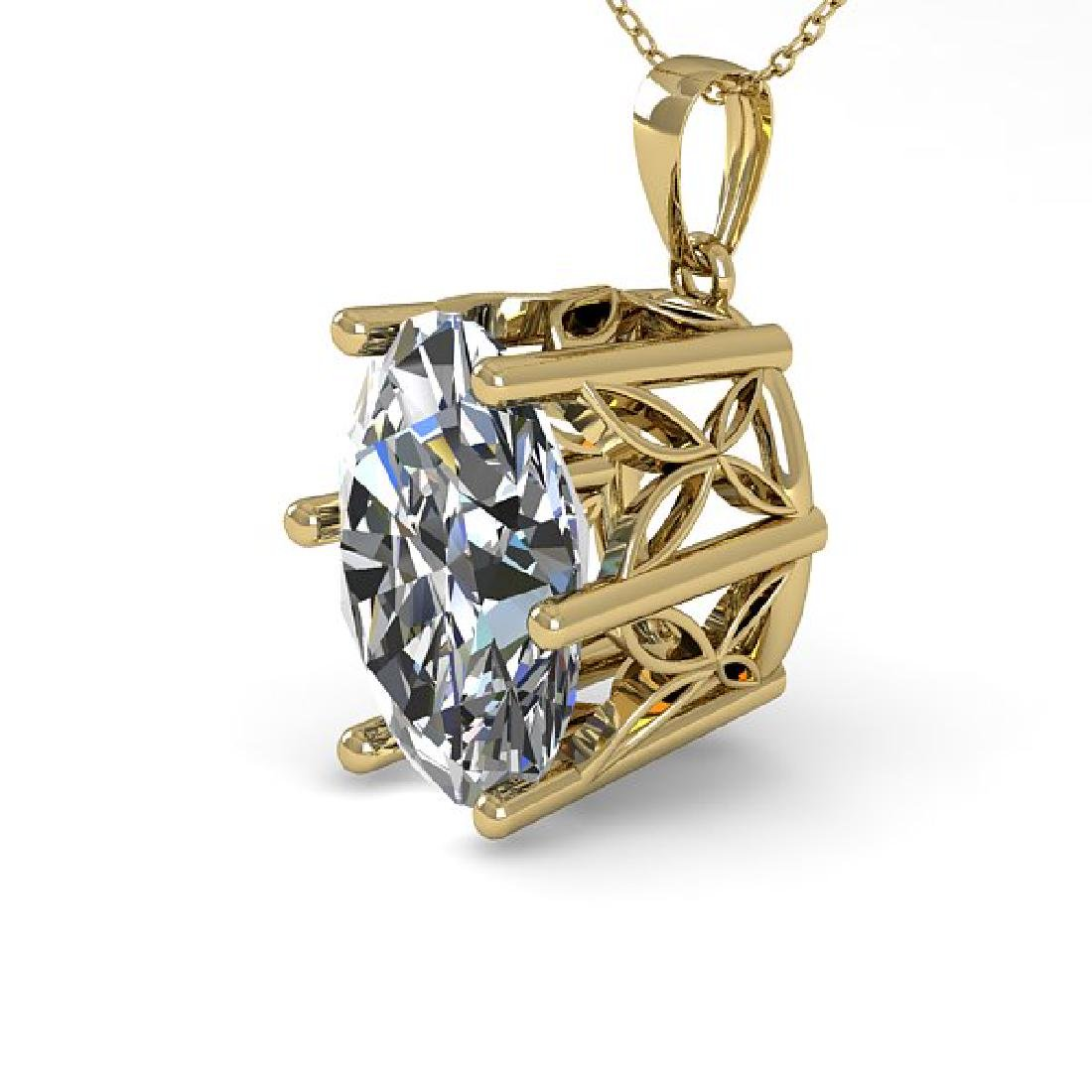 1 CTW VS/SI Oval Diamond Art Deco Necklace 14K Yellow