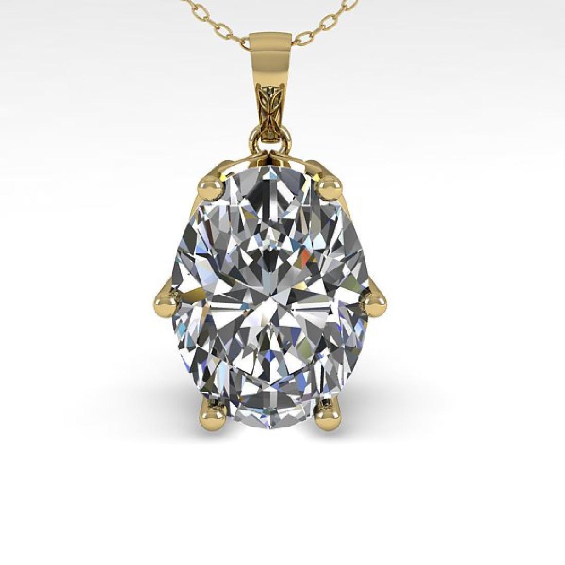 1 CTW VS/SI Oval Diamond Art Deco Necklace 14K Yellow - 2