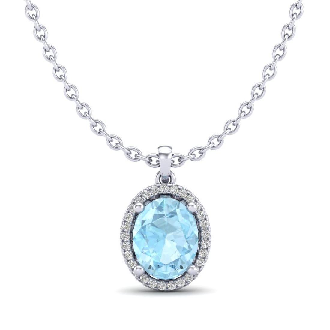 2.50 CTW Aquamarine & Micro VS/SI Diamond Necklace Halo - 2