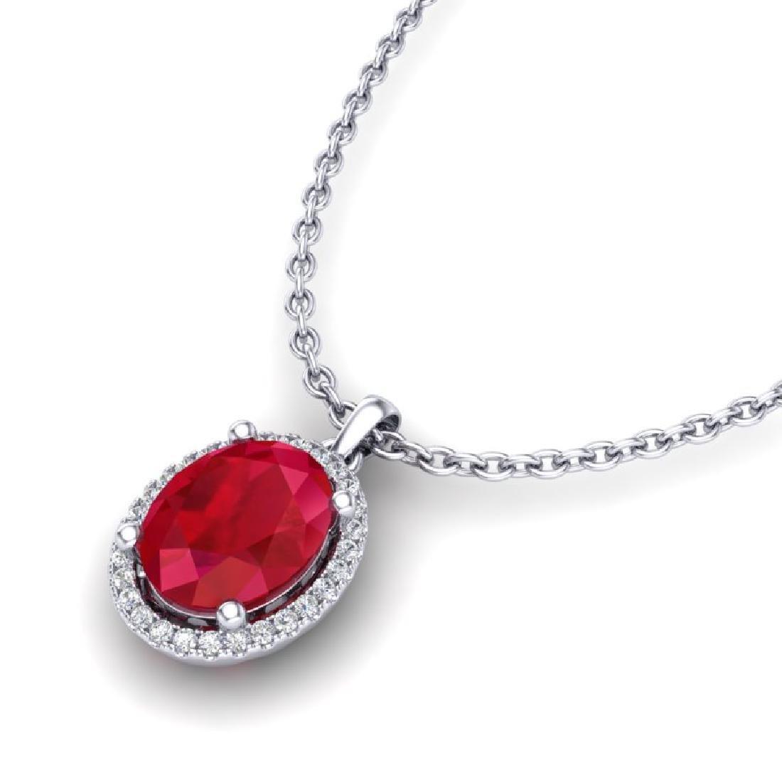 3 CTW Ruby & Micro Pave VS/SI Diamond Necklace Halo 18K