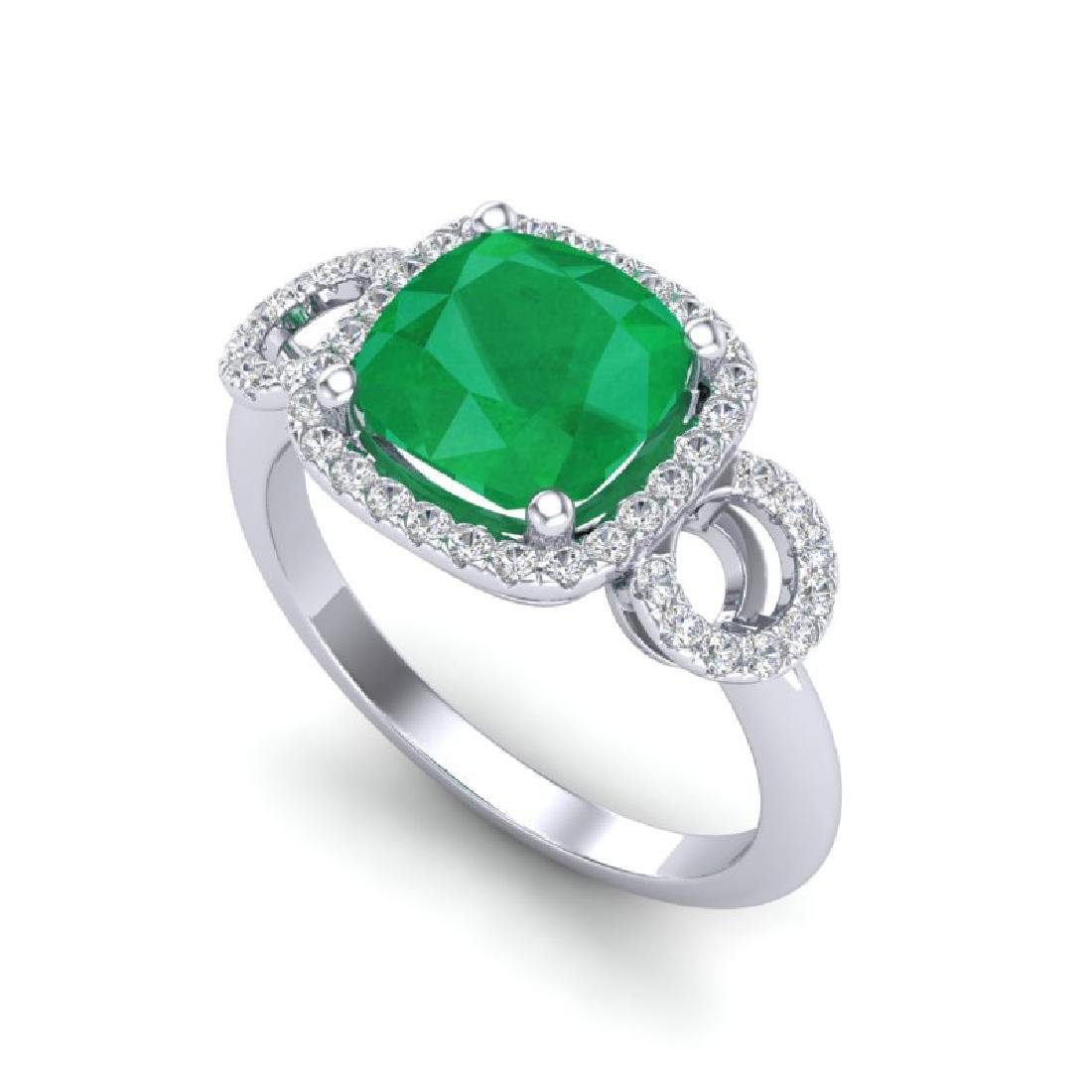 3.15 CTW Emerald & Micro VS/SI Diamond Ring 18K White - 2