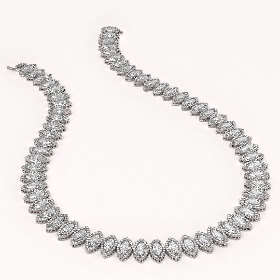 39.68 CTW Marquise Diamond Designer Necklace 18K White - 2