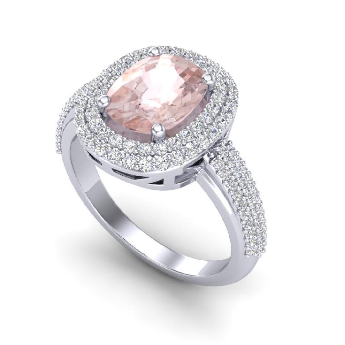 3.25 CTW Morganite & Micro Pave VS/SI Diamond Halo Ring - 2