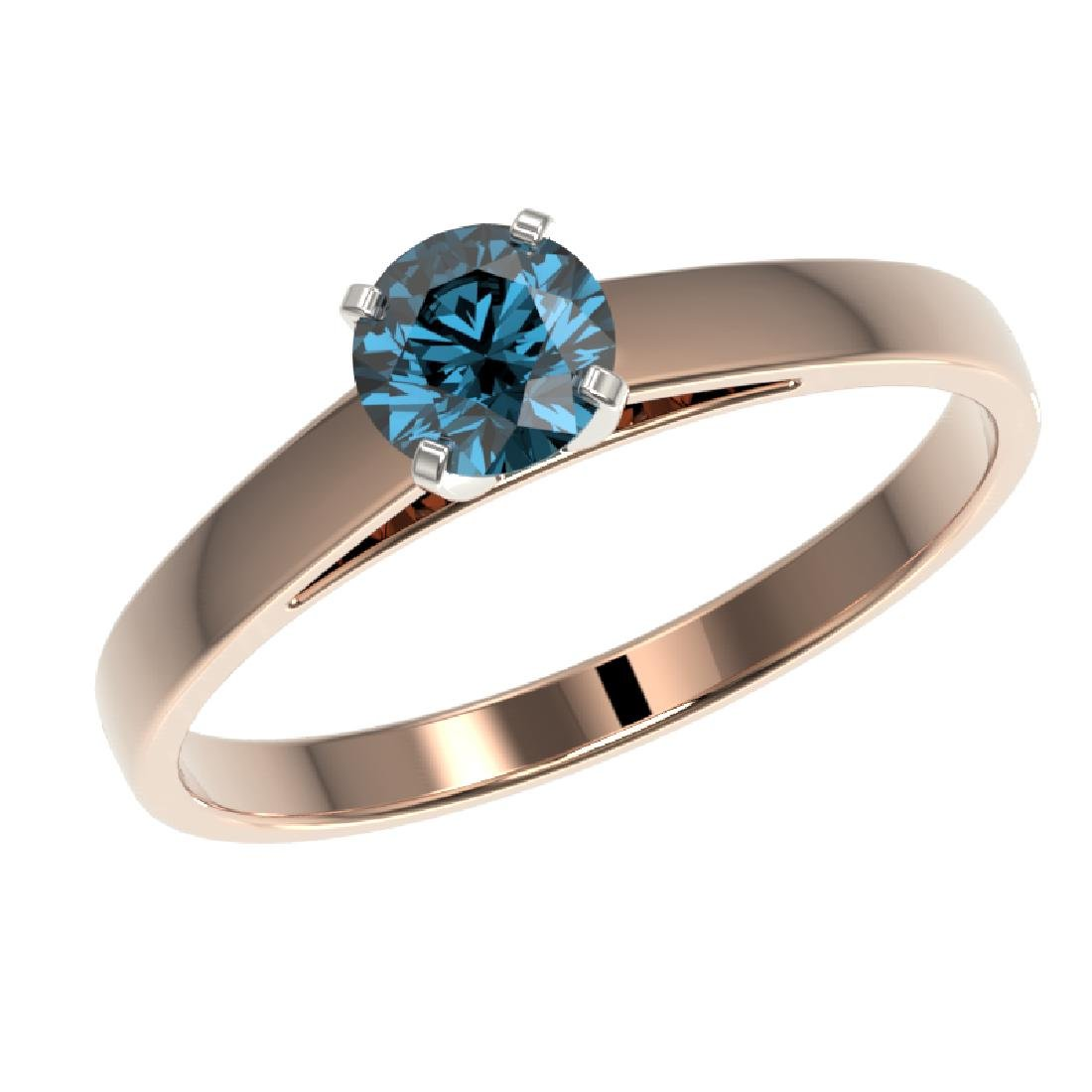 0.54 CTW Certified Intense Blue SI Diamond Solitaire - 2