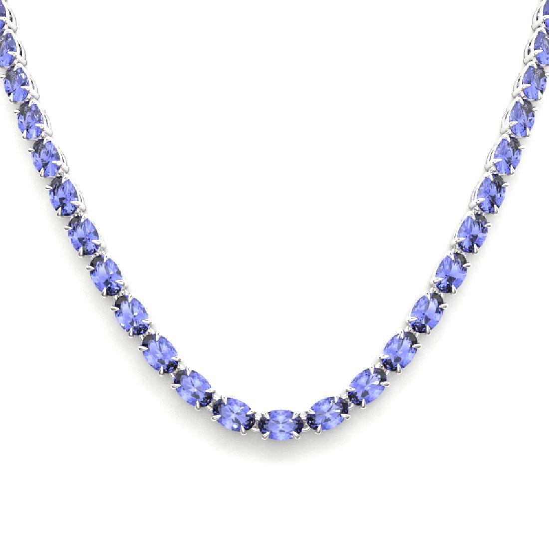 40 CTW Tanzanite Eternity Tennis Necklace 14K White - 2